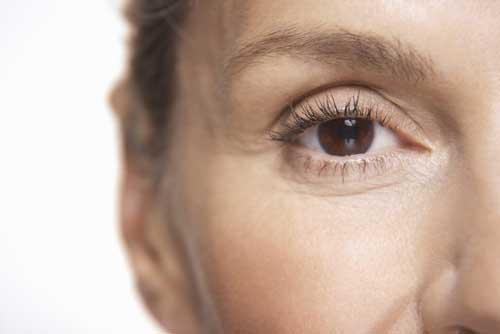 Close up woman's brown eye