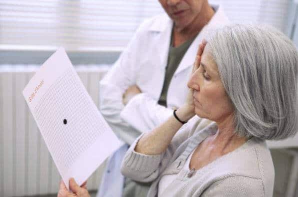 woman testing for macular degeneration